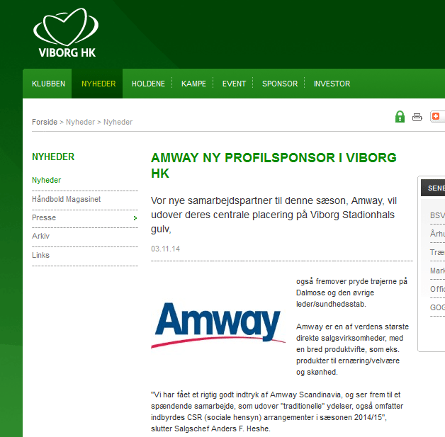 Amway-er-sponsor-for-Viborg-Haandbold-klub-MLM-Network-Marketing